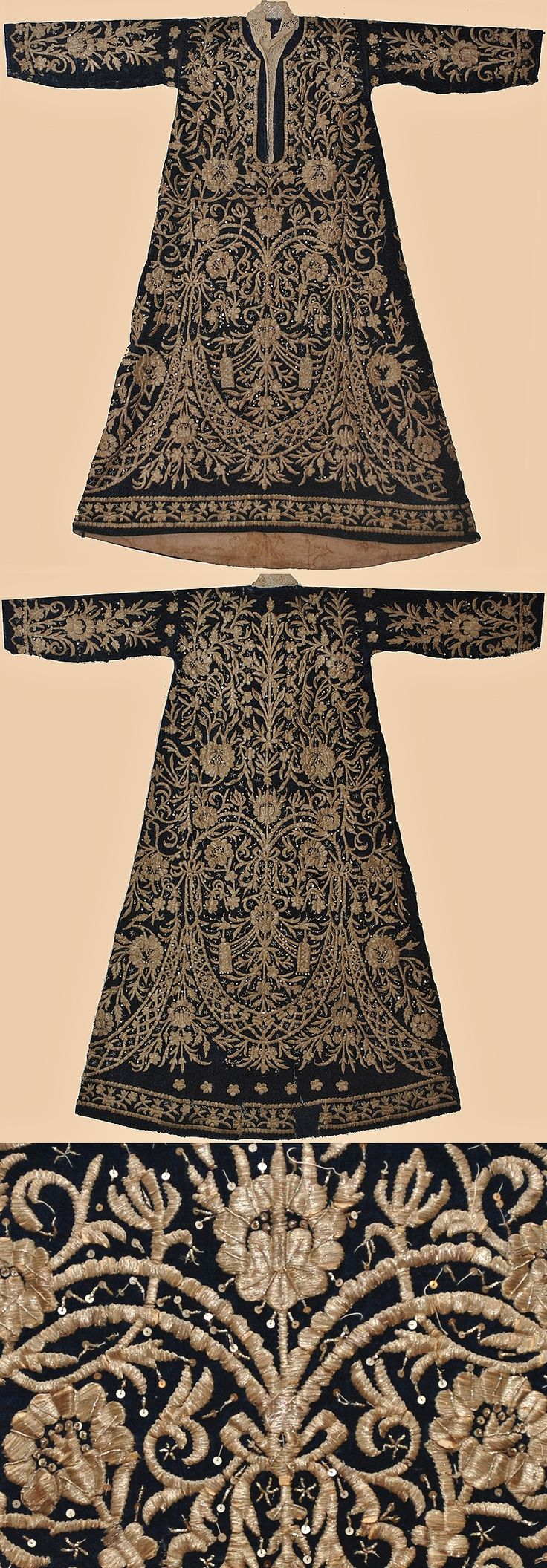 A woman's caftan ('bindalli entari'). Circa 1840.  Late-Ottoman upper class dress, possibly from Konya.  Velvet adorned with goldwork embroidery, minuscule golden spirals and metallic sequins.