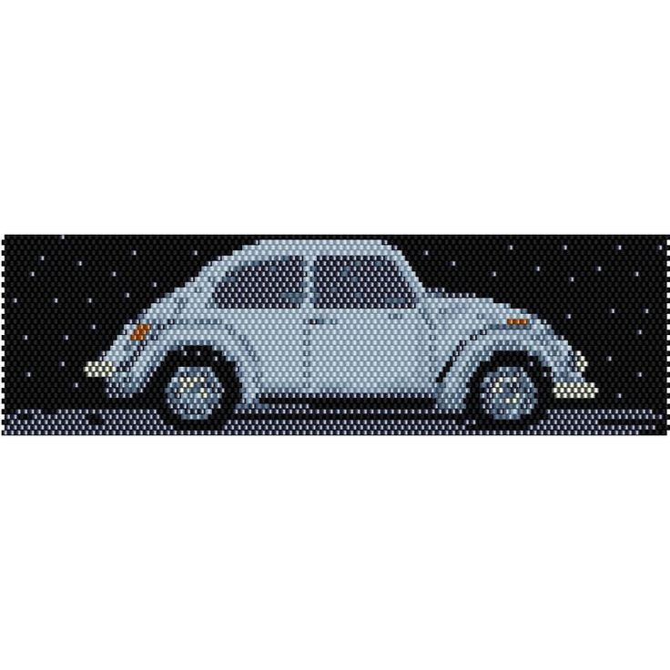 VW Bug Vintage Car Peyote Bead Pattern, Bracelet Cuff, Bookmark, Seed Beading Pattern Miyuki Delica Size 11 Beads - PDF Instant Download by SmartArtsSupply on Etsy