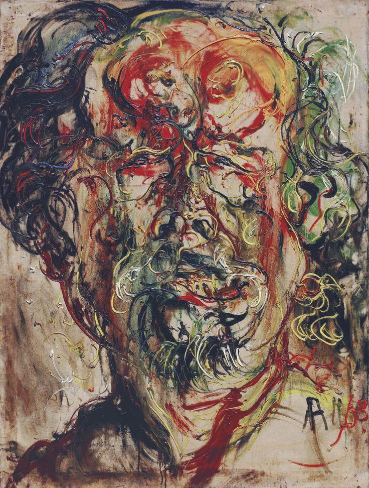 Affandi (1907-1990), SELF-PORTRAIT, 1968, Oil on canvas, 129.5 x 97.5 cm