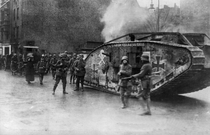 British Mk IV tank captured by the German army in WWI, being used by Freikorps units during the supression of the Spartacist Uprising (Spartakusaufstand); Berlin, January 1919.