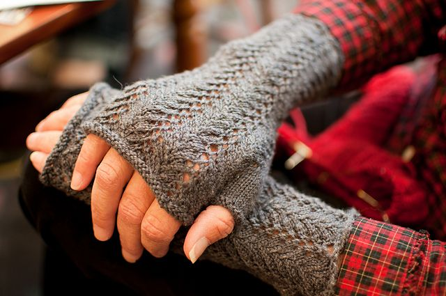 Ravelry: Fern Lace Arm Warmers pattern by Cynthia Parker
