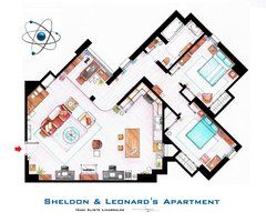 Sheldon, Leonard and Penny Apartment from TBBT by ~nikneuk - An interior designer who has drawn a series of famous floor plans!