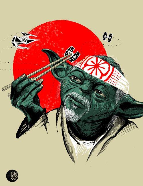 Mr. Yoda Miyagi, by Brazilian illustrator Fernando Degrossi