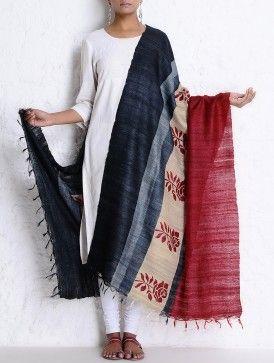 Black-Maroon-Beige Organic Silk Handwoven & Handblock Printed Dupatta