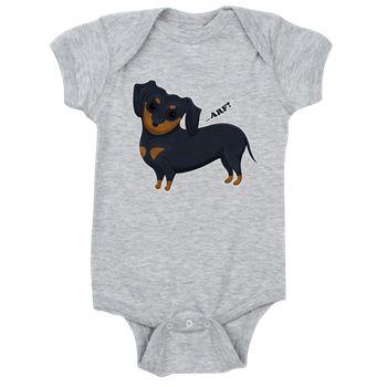 Cartoon Dachshund Baby Bodysuit from cafepress store: AG Painted Brush T-Shirts. #baby #dachshund #dog #cartoon