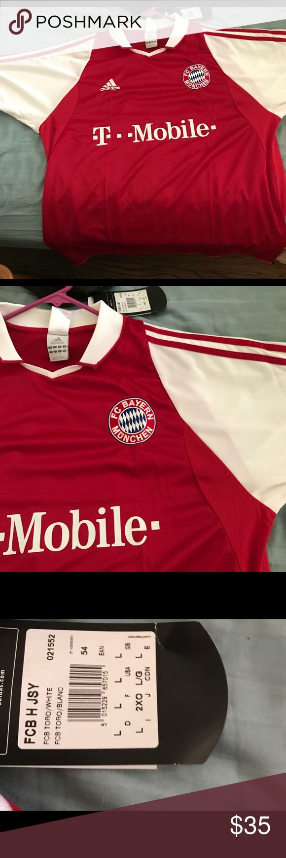 NWT BAYERN Munich Home Jersey Brand new flawless kit of the kings of German football! Team crest embroidered in as well as the adidas logo. In this sparkling condition. A real steal! adidas Shirts Tees - Short Sleeve