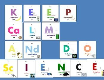 Great set of printables for your bulletin board! Each square represents a square on the periodic table, complete with atomic mass, atomic number and an illustration of something that contains the element.