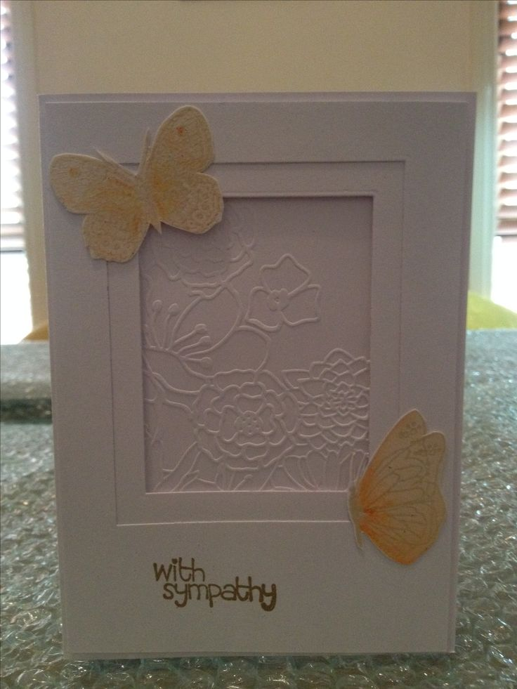 Butterfly Card with Flower Embossing Folder