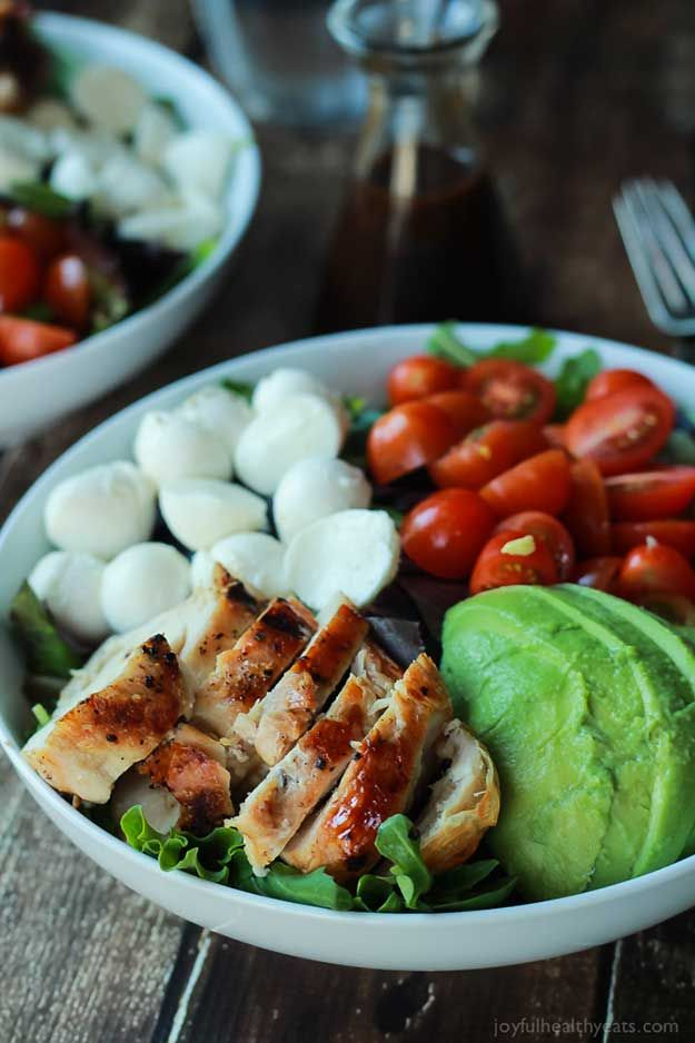 Healthy Lunches for Work - Avocado Caprese Chicken Salad with Balsamic Vinaigrette - Easy, Quick and Cheap Clean Eating Recipes That You Can Take To Work - Weekly Meals That Are Great for Health Fitness and Weightloss - Low Fat Recipe Ideas and Simple Low Carb Meals That are High In Protein and Taste Great Cold - Vegetarian Options and Weight Watchers Friendly Ideas that Require No Heat - http://thegoddess.com/healthy-lunches-for-work