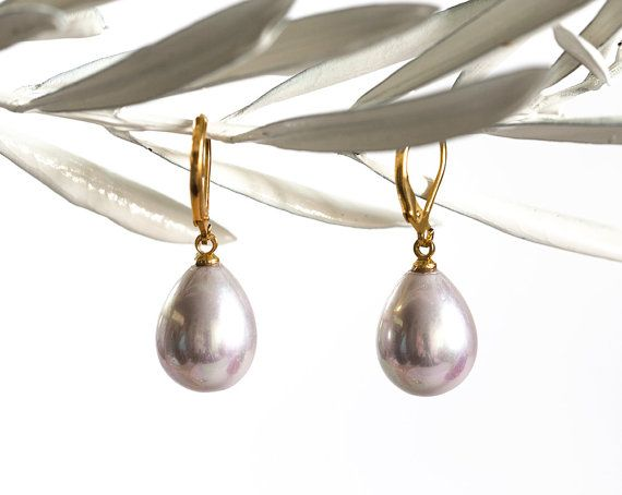 18843_Purple earring mother of pearl 12x15 mm, Pink mother of pearl,Gold plated earring,Ash rose mother of pearl,Drop mother of pearls_1pair