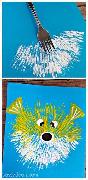 Kid's Puffer Fish Craft Using a Fork - Fun kids art project.. so many different ideas! Kittens, teddy bears, fireworks...