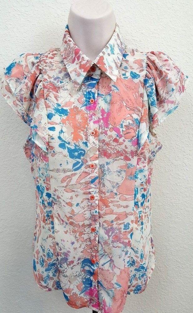 Pinkyotto Floral Button Front Sleeveless Women's Top Size Small #Pinkyotto #ButtonDownShirt #Career