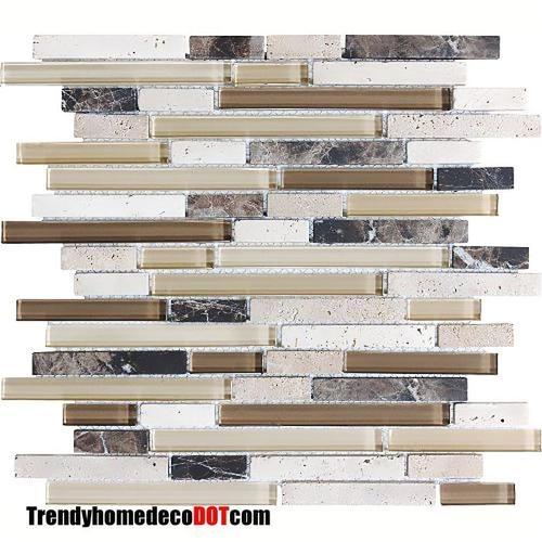 sample brown travertine marble glass mosaic tile kitchen