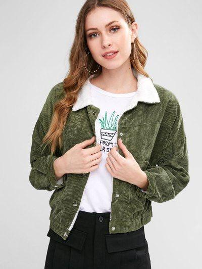 Fleece Lined Pocket Corduroy Jacket In 2019 Zaful Fashion Style
