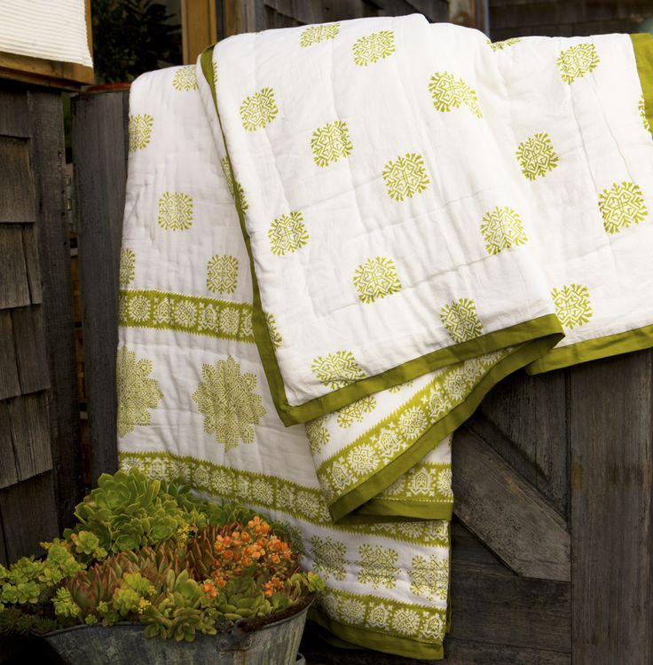 Cottage Quilts - Country Quilts -  Green Quilt - Queen Size Quilt Sets - Hand Block Printed from Attiser