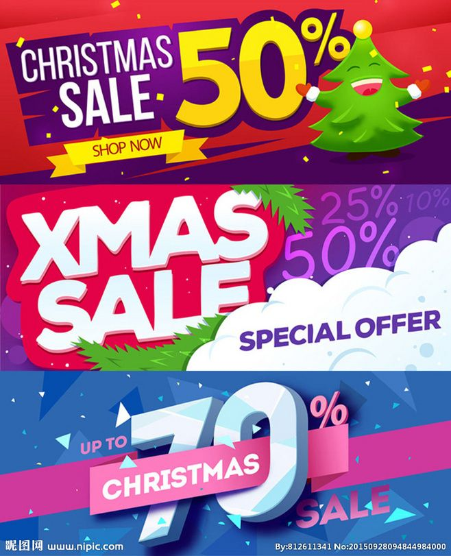 圣诞节促销Banner 矢量图@木偶遨游天下采集到海报封面(441图)_花瓣平面