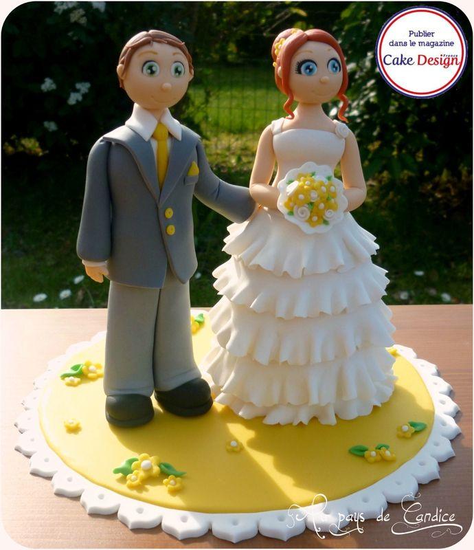 Couple de mariés en pâte à sucre Wedding cake topper yellow http://paysdecandice.canalblog.com/archives/2014/04/28/29751877.html