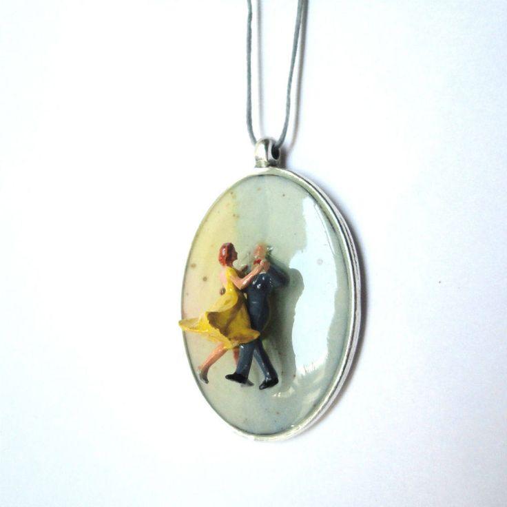 dancers pendant, romance, love, yellow dress, resin pendant, contemporary pendant, adjustable pendant, couple miniature by CloJour on Etsy