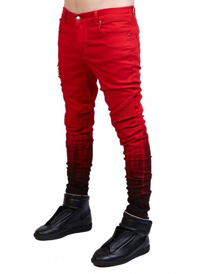 """Renegade Red Biker Jeans. Part of the """"Renegade"""" Other UK collection. Check the 3 colorways here."""