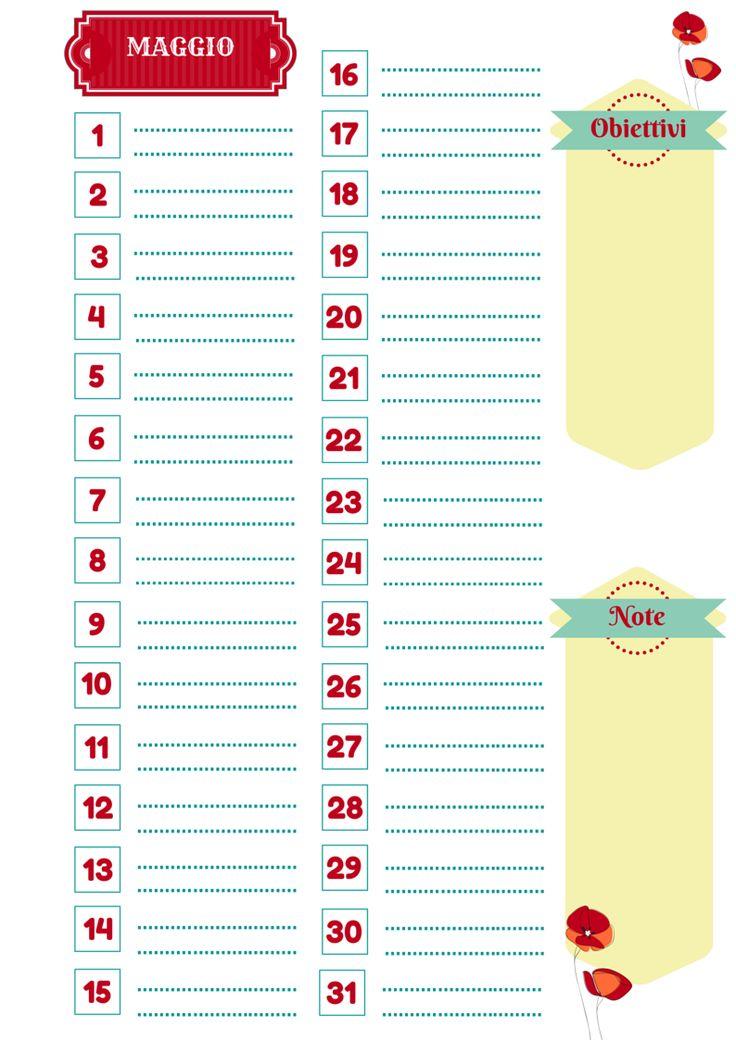 Nata disorganizzata: Refill gratuiti per l'agenda: il mese di Maggio da stampare