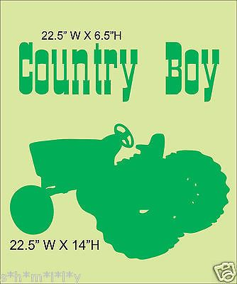 Country Boy Tractor Boys Room Wall Art Decor Vinyl Decal Words INCLUDED