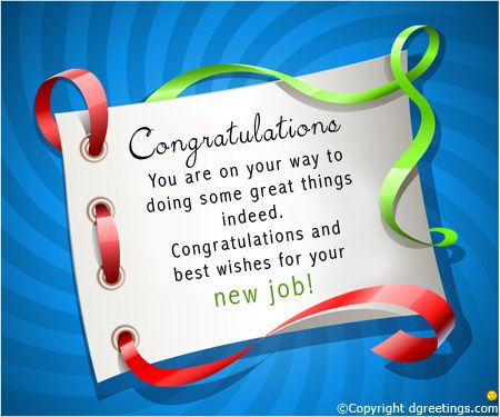 Congratulations you are on your way.New Job Congratulations Cards