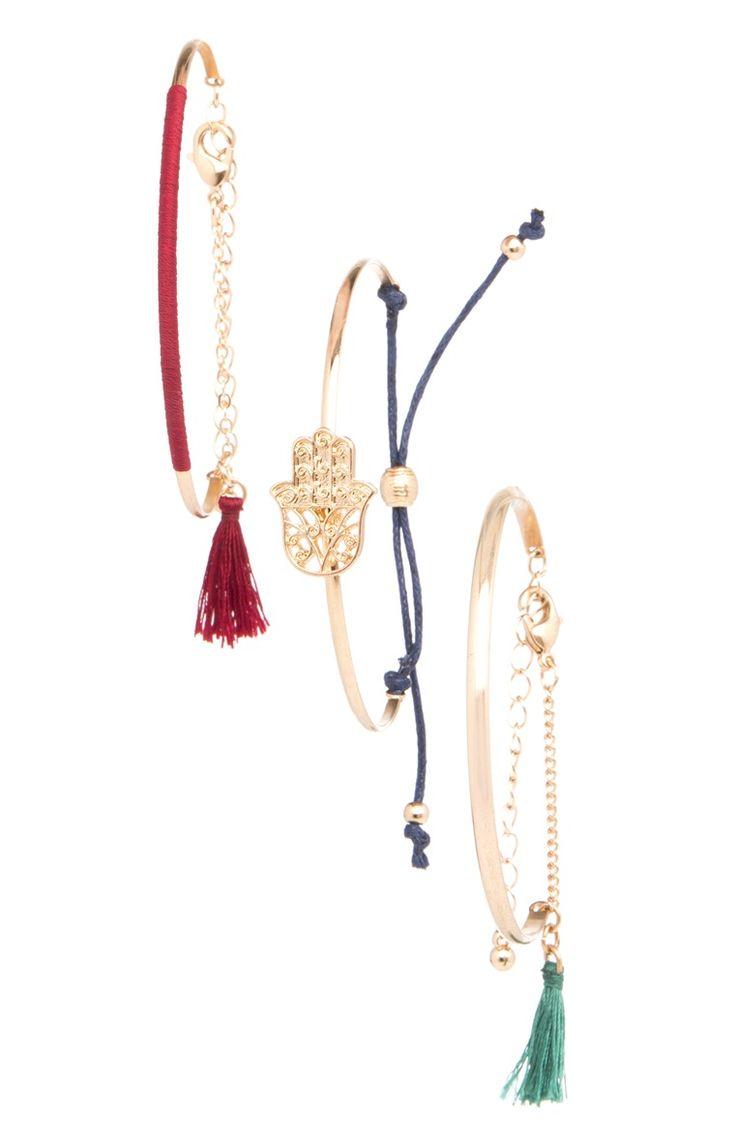 3 bracelets cordelettes et pampilles
