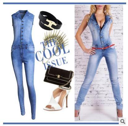 Phụ nữ catsuit Áo Liền Quần jeans Quần Quần dài Ladies sexy jeans dài không tay sexy V sâu cổ áo màu xanh phong cách mỏng. JN52