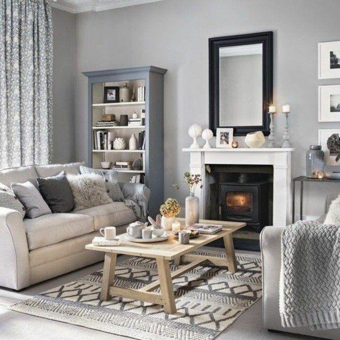 salon gris et blanc deco salon moderne chemine romantique ambiance cosy salon