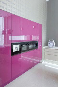 very contemporary kitchen design with hot pink cabinets valentinesday - Magenta Kitchen Design