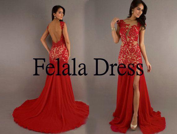 Lace+prom+dress2014++long+party+dress+/+chiffon+by+FelalaDress,+$169.00