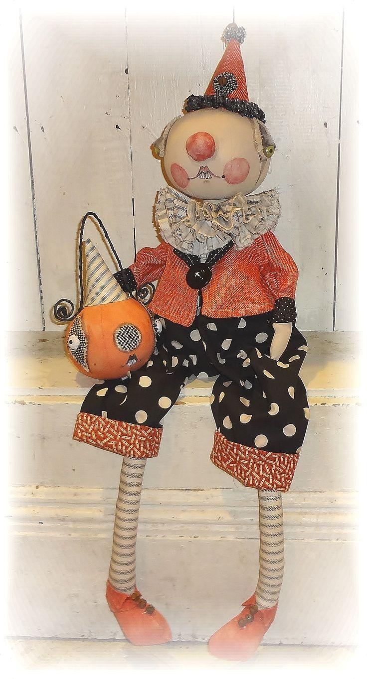 Halloween Clown doll Folk art from the Pixie's Thimble by Cindy Conrad