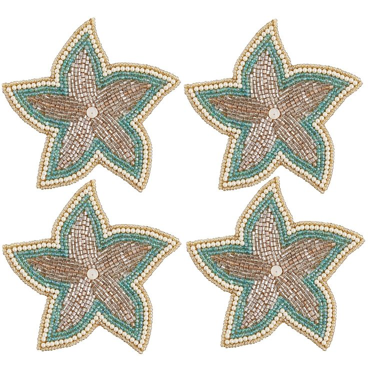 Multi Colored Beaded Starfish Coaster Set   Polyester