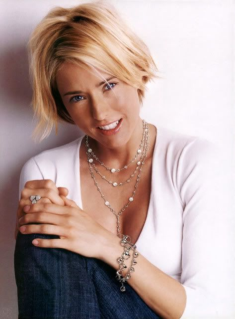 Tea Leoni.  Love the hair, looks so easy to maintain!