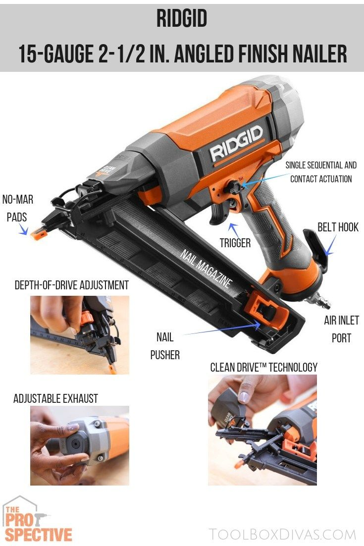 Ridgid 15 Guage Angled Finish Nailer Toolboxdivas Thdprospective Homedepot Ad Finish Nailer Tool Box Easy Woodworking Projects