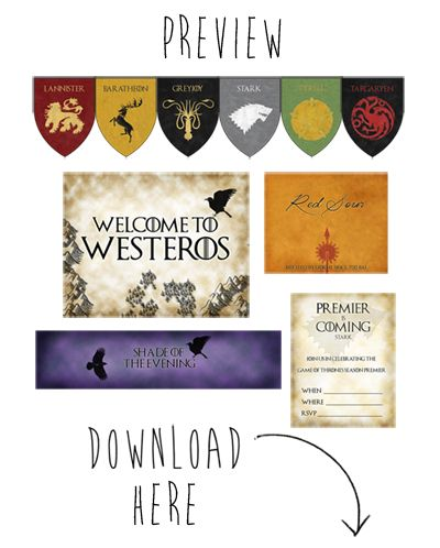 DIY - Free Game of Thrones Printables!  For Game of Thrones Premiere Party.  By Jellyfish Soup