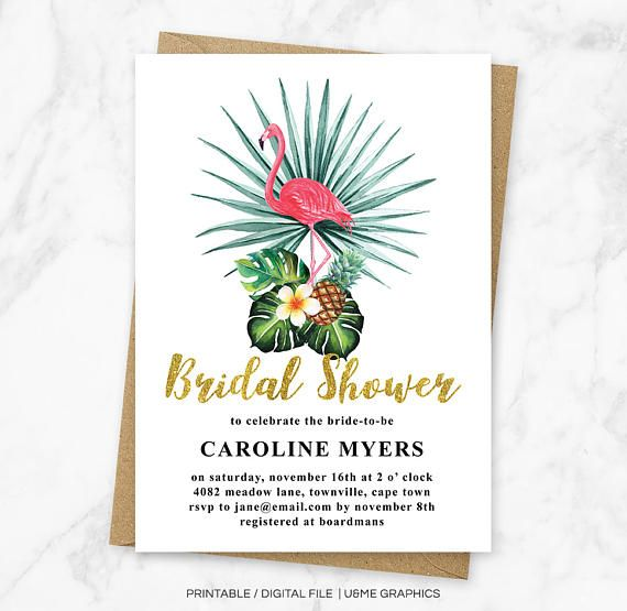 Flamingo Bridal Shower Invitation Tropical Bridal Shower