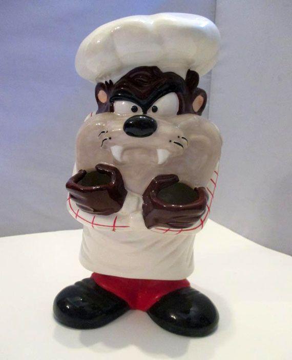 Tazmanian Devil Ceramic Kitchen Chef Cook Utensil Holder Figure Looney Tunes