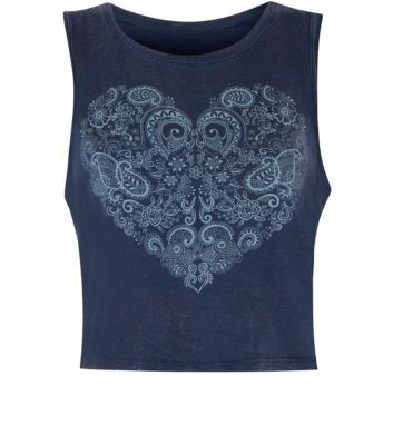 Navy Floral Print Heart Acid Wash Vest