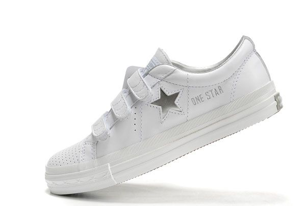 530becf118df Converse uk sale - one star silver star velcro leather low white shoes