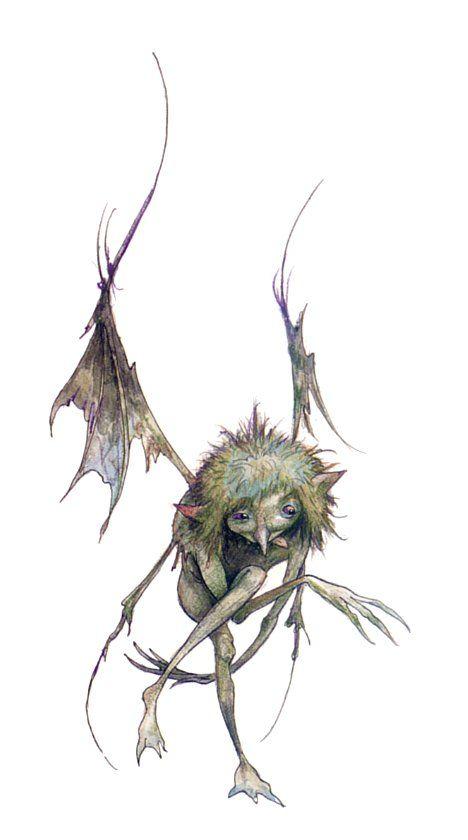 Ein Klangó..h..?l (langes o) merkmale: spitze ohren, spitze flügel, schwanz mit spitze, 2 arme und beine, behaarung auf kopf ansonsten ledrig