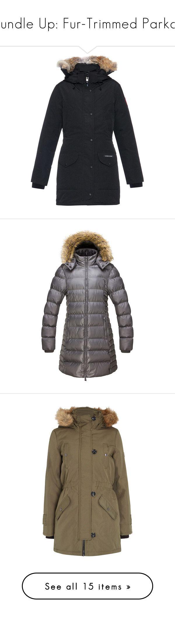 """Bundle Up: Fur-Trimmed Parkas"" by polyvore-editorial ❤ liked on Polyvore featuring parkas, outerwear, coats, black, black coat, black parka, fur trim hooded coat, hooded parka, fur trim hooded parka and puffer coat"