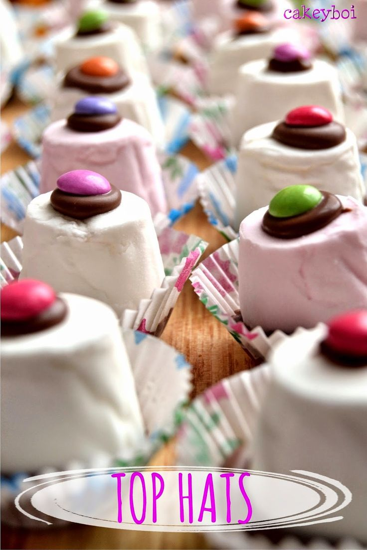 marshmallow, chocolate, smarties - aka Top Hats from Cakeyboi - brilliant for making with kids and serving at parties...