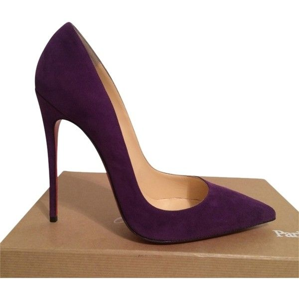 Pre-owned Christian Louboutin So Kate Suede Eu 40 Us 9.5 Purple Pumps ($700) ❤ liked on Polyvore featuring shoes, pumps, purple, pre owned shoes, purple shoes, purple pumps, suede pumps and suede leather shoes