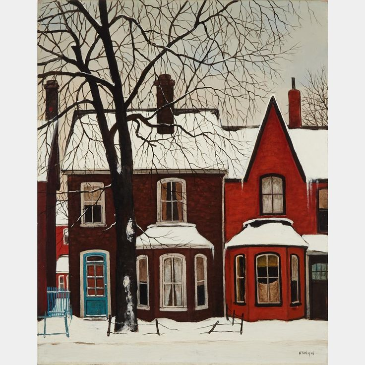 JOHN KASYN, O.S.A. OLD HOUSES IN WINTER (EAST END), TORONTO: Canadian Art Auctions - JOHN KASYN O.S.A.
