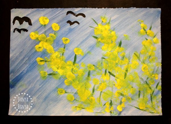 Aussie golden wattle flower painting with pom poms - fun art for kids to learn about Australia and Australian native flora