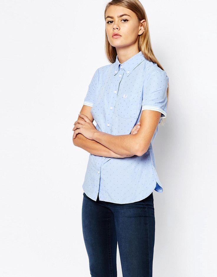 Image 1 ofFred Perry Tonal Polka Dot Short Sleeve Oxford Shirt