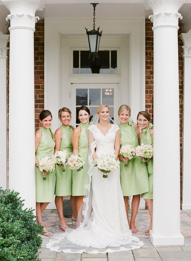 Sprig green, cocktail length dress, shift, bridesmaids, lace wedding gown // Jen Fariello Photography