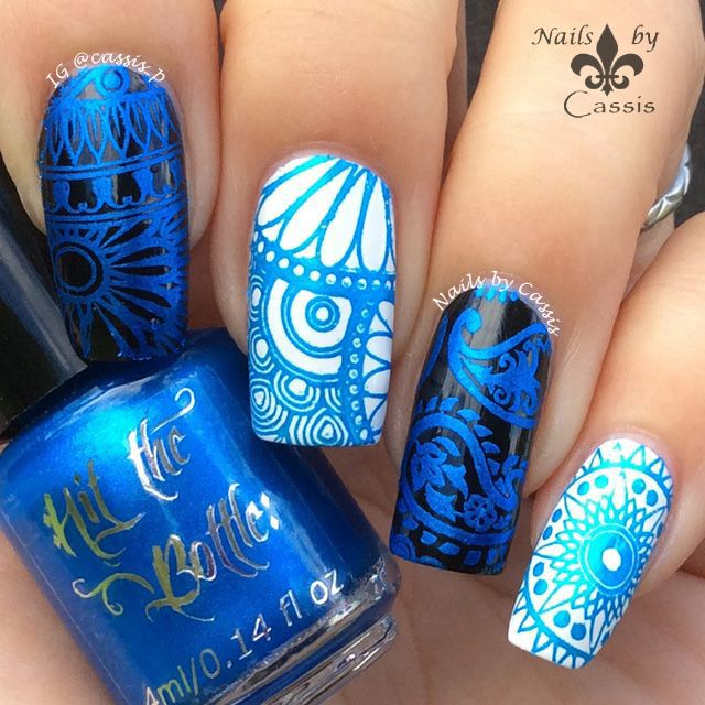 Nails by Cassis: Hit The Bottle Stamping Polish 'Blue-tiful' (electric blue colour) Stamping plate is MoYou London Fashionista 11 #HitTheBottle #NailsbyCassis