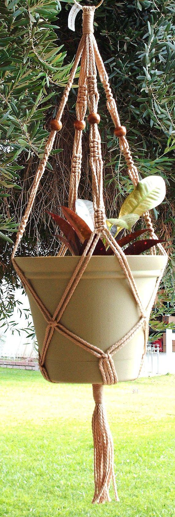 Macrame Plant Hanger Vintage Style 30inch by MacrameDesign on Etsy, $9.99